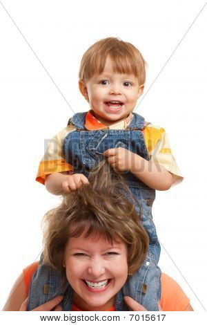 Son Sitting On Mother Shoulders
