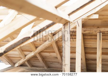 Interior View Of A Wooden Roof Structure