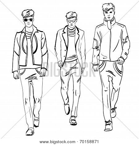 Vector hand made scetch of men on background