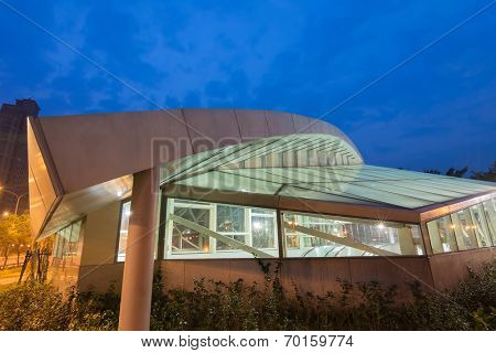 TAIPEI, TAIWAN - MARCH 27 : Xiangshan Station in the night on March 27, 2014 in Taipei, Taiwan, Asia. The station is the newest MRT station opened on 24 November 2013.