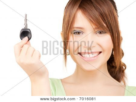 Happy Teenage Girl With Car Key