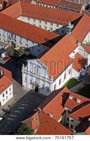 ZAGREB, CROATIA - OCTOBER 14: Church of the Saint Catherine of Alexandria in Zagreb, Croatia on on October 14, 2007.