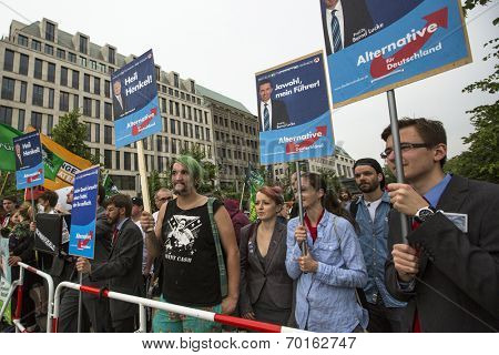 BERLIN, GERMANY - MAY 23, 2014: Activists rally against AfD is a centrist political party founded in 2013. Won 7 of Germany's 96 seats for European Parliament in May 2014 election.