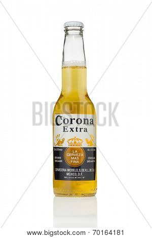 Sarajevo, Bosnia and Herzegovina - August 16, 2014: Photo of Corona Extra Beer bottle.  Corona Extra is produced in Mexico.