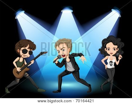 Illustration of rock stars on stage