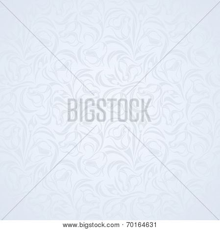 Blue floral seamless pattern. Vector illustration.