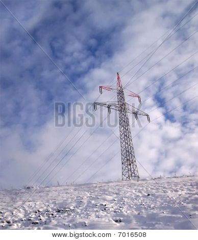Electrical Powerlines (electricity Pylons), Winter, Clouds
