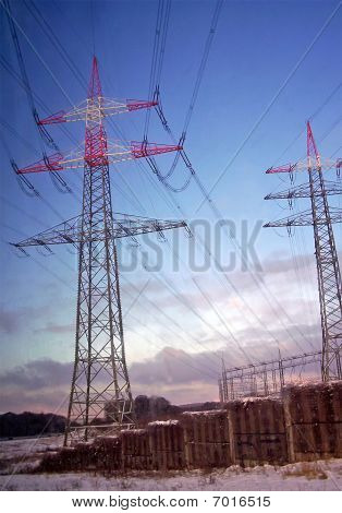 Electrical Powerlines (electricity Pylons), Sunset, Snow, Sky