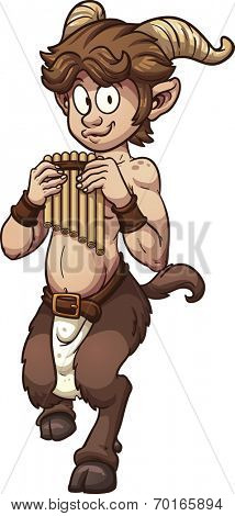 Cartoon satyr with pan flute. Vector clip art illustration with simple gradients. All in a single layer.