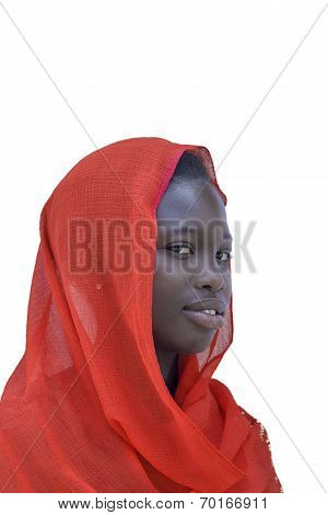 Young Afro beauty wearing a red headscarf, isolated