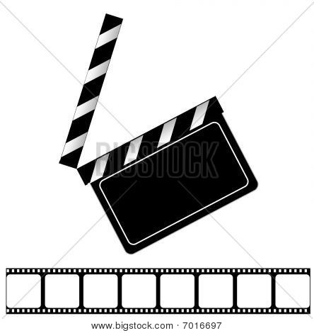 Movie clapper board and filmstrip vector illustration
