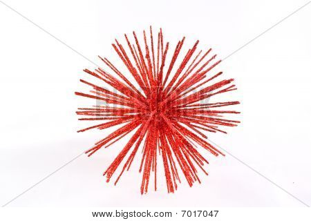 Red star over white background