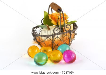 Basket with apple soap and rose and bath pearls