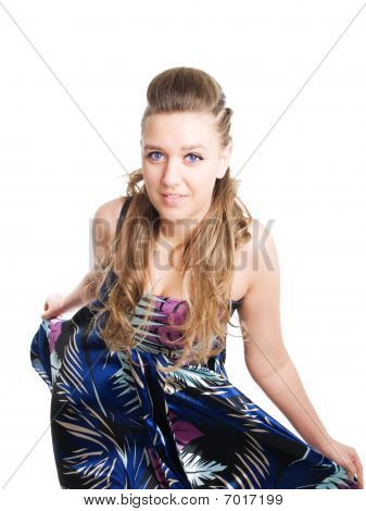 Beautiful Young Woman In Summer Dress Over White Background