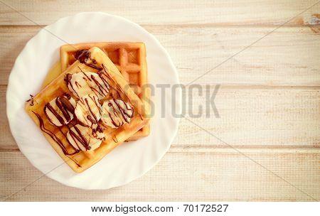 Waffles With Banana And Chcolate