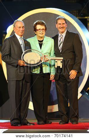 New York Mayor Michael Bloomberg, Billie Jean King and USTA Chairman Dave Haggerty at US Open 2013