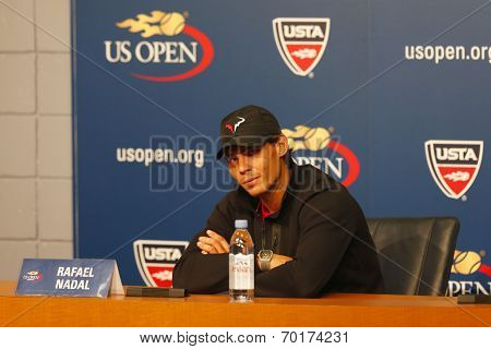 Thirteen times Grand Slam champion Rafael Nadal during press conference at US Open 2013