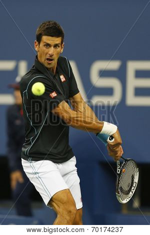 Professional tennis player Novak Djokovic during quarterfinal match at US Open 2013