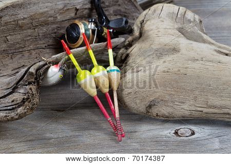 Fishing Objects On Driftwood