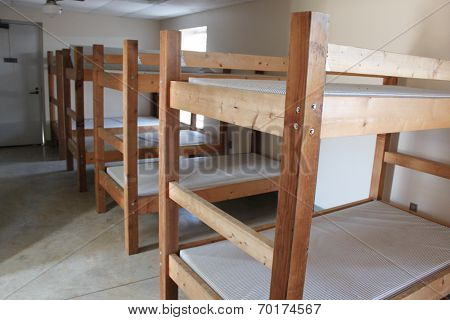 Bunk beds in a camp