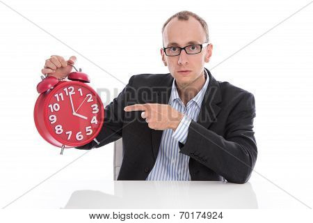 Stressed Isolated Businessman Pointing At Clock. 4 O'clock Afternoon.