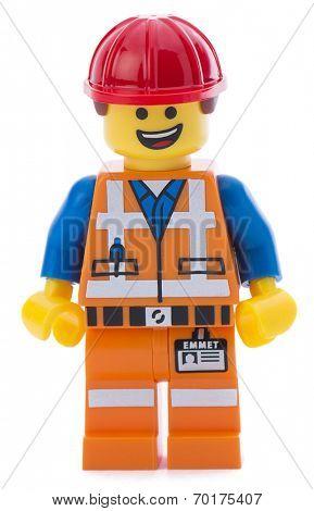 Ankara, Turkey - March 15, 2014 : Lego movie minifigure character Emmet isolated on white background.