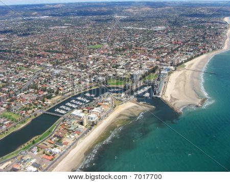 Aerial view of Glenelg Beach