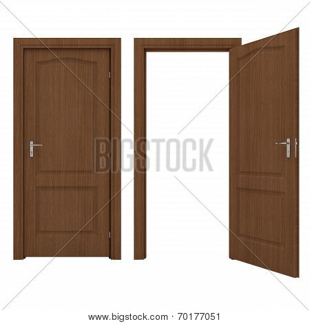 Open wooden door isolated on a white background