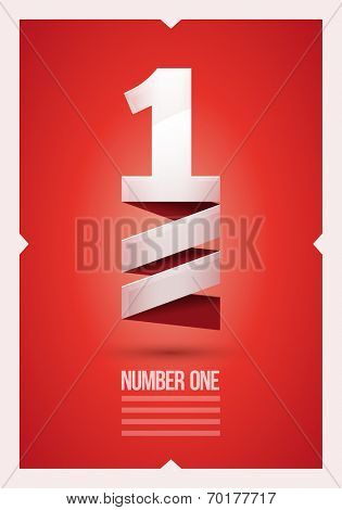 Vector abstract number 1 poster design template.