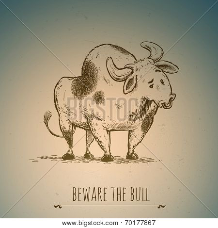 Beware the bull | Vector Illustration with organized layers