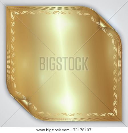 Vector abstract golden metallic rolled foil sheet