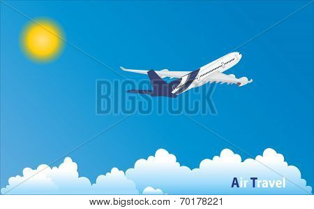Airplane In Tropical Holiday Location.