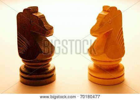 Two Wooden Horse Chess Pieces