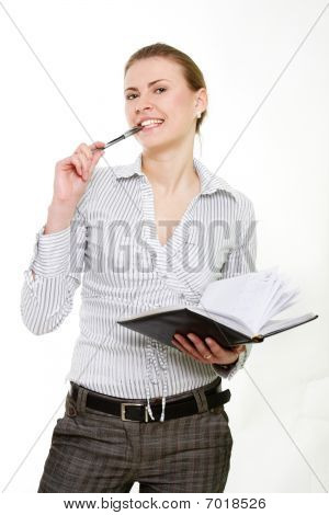 Attractive Business Woman Over White