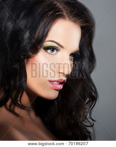 Fascination. Profile Of Sophisticated Luxurious Brunette