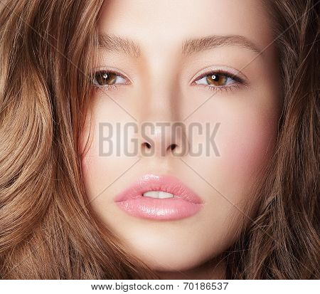 Close Up Portrait Of Groomed Woman With Clean Natural Skin