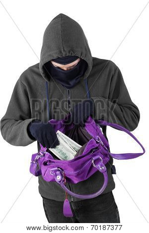 Bandit Taking Money From Handbag