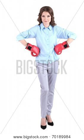 Young beautiful business woman with boxing gloves isolated on white