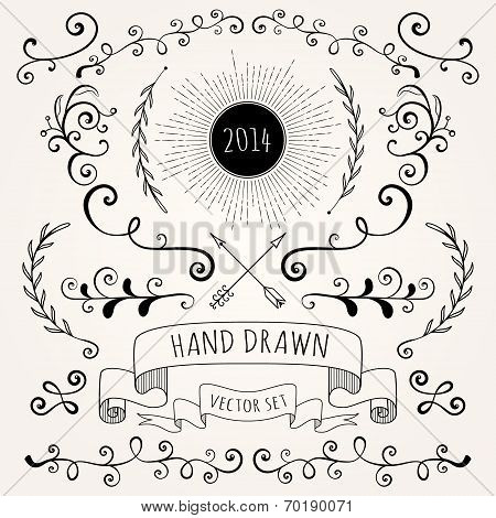 Hand Drawn Set Vintage Style Vector Design Elements