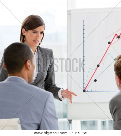 Young Female Executive Presenting Statistics