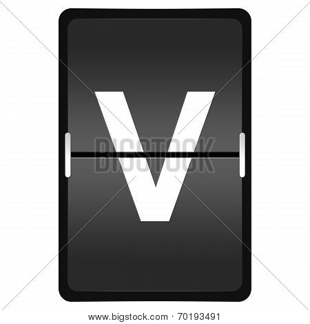 Flipboard Letter V From A Series Of Airport Timetable