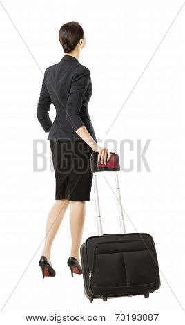 Business Woman Back In Airport, Isolated Over White, Businesswoman In Suit Looking Up, Full Length P