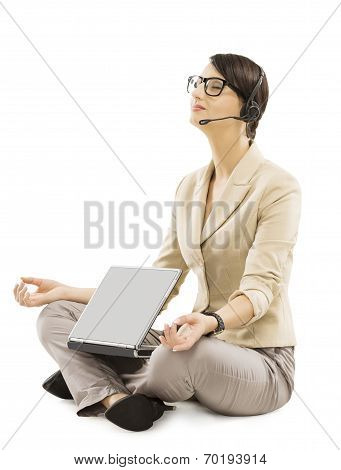 Support Operator Relax With Notebook Headset, Business Woman Isolated Over White Background, Employe