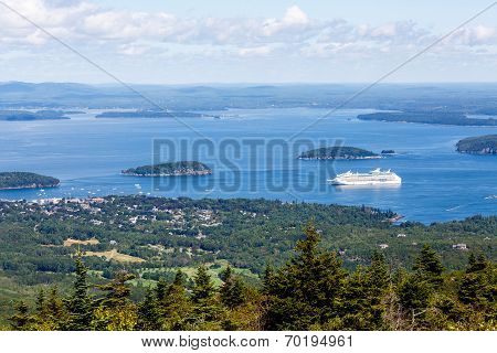 Cruise Ship In Blue Bay On Maine Coast
