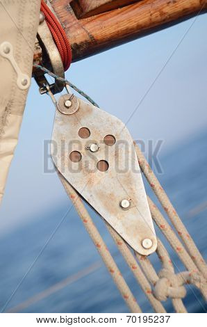 Pulley Blocks Of Mainsheet, Running Rigging Of Old Yacht
