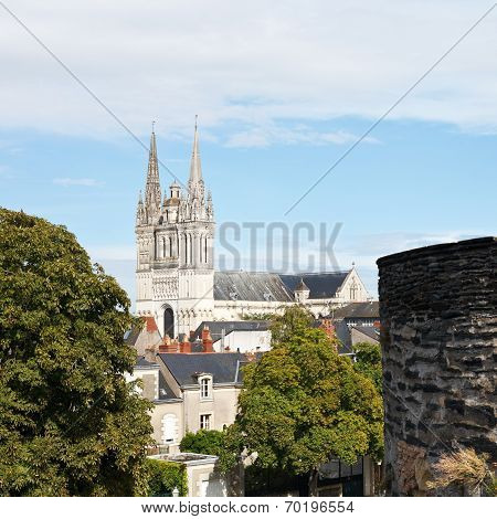 Saint Maurice Cathedral And Wall Of Angers Castle