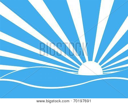 Sun Rays With Blue And White  Over The Sea