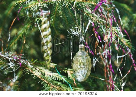Glass Cone And Icicle Christmas Decoration