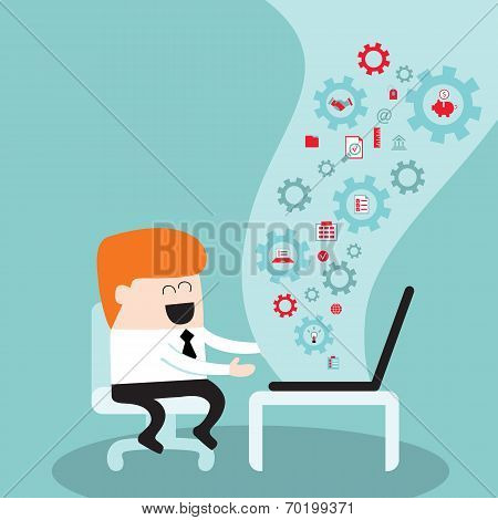 Businessman Working On Laptop I Love My Job Successful Business Concept