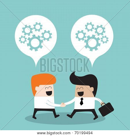 Business People Shaking Hands And Thinking About Their Partnership Successful Business Concept